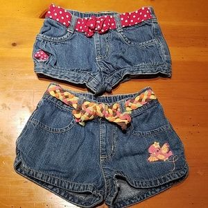 Lot of Two Toddler Girls Gymboree Denim Jean Short